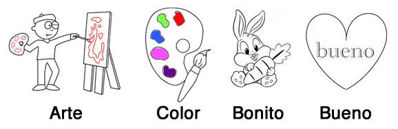 Ejemplos de palabras amigas son arte, color, bonito, bueno