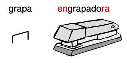 Engrapadora es una palabra derivada de grapa